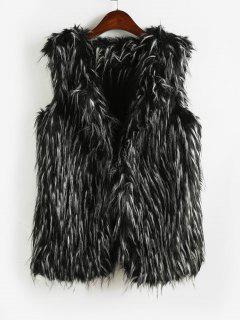 Two Tone Fluffy Waistcoat - Black M