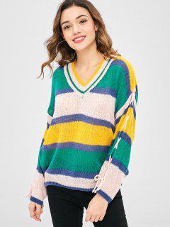 Suéter Color Block Con Cordones De Gran Tamaño - Multicolor