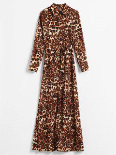 Long Sleeve Leopard Print Maxi Shirt Dress - Leopard M