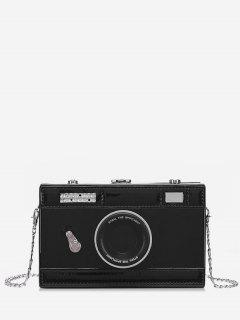 Vintage Camera Printed PU Crossbody Bag - Black