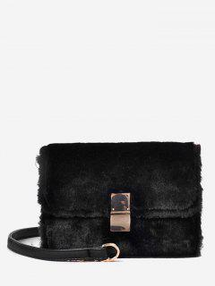 Faux Fluff Magnetic Snap Design Crossbody Bag - Black