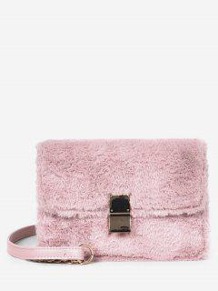 Faux Fluff Magnetic Snap Design Crossbody Bag - Light Pink