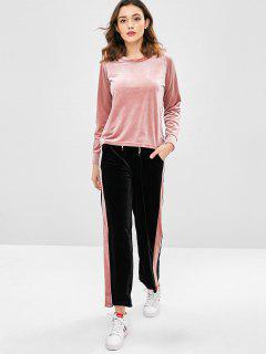 Samt Sport Sweatshirt Und Hosen Set - Rosa 2xl