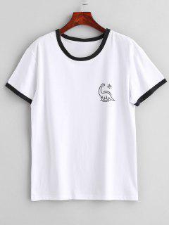 Camiseta De Manga Corta Con Gráfico Del Ringer De Jersey - Blanco M