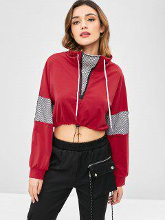 Hit Color Half Zip Crop Top - Red Wine S