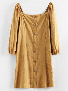 Robe Courte Boutonnée à Col Carré - Orange D'or L