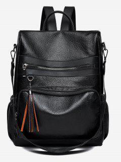 PU Tassel Design Crossbody Backpack - Black