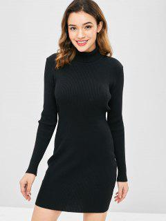 High Neck Ribbed Mini Bodycon Sweater Dress - Black