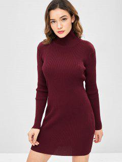 High Neck Ribbed Mini Bodycon Sweater Dress - Red Wine