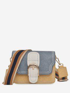 Striped Shoulder Tape Design Cover Crossbody Bag - Slate Blue
