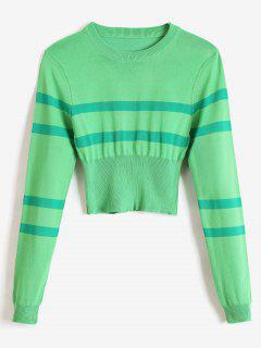 Striped Round Neck Short Sweater - Green