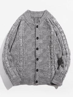 Button Up Stehkragen Strickjacke - Dunkelgrau 2xl