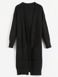 Patch Pocket Open Front Longline Cardigan - Black M