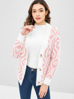 Drop Shoulder Button Up Grafik Strickjacke - Helles Rosa