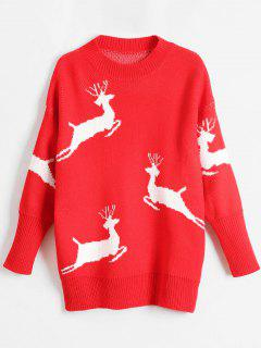 Christmas Elk Print Pullover Sweater - Red