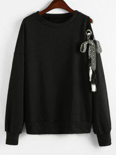 Cut Out Tassels Belt Sweatshirt - Black