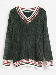 Suéter Cruzado Con Cuello En V - Mar Verde Mediana