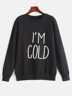 Contrasting Letter Print Graphic Pullover Sweatshirt - Black S