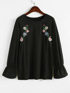 Floral Embroidered Raglan Sleeves Sweatshirt - Black