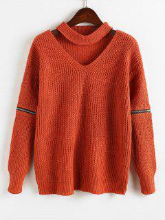 Zipper Embellished Plain Keyhole Sweater - Orange
