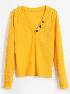 Camiseta De Manga Larga Acanalada - Amarillo Brillante S
