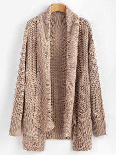 Pockets Shawl Collar Chunky Cardigan - Apricot 2xl