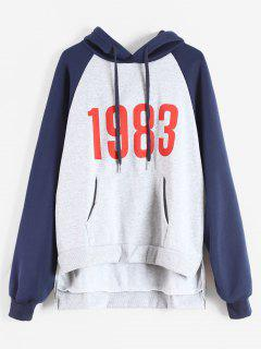 Color Block High Low Graphic Hoodie - Light Gray S