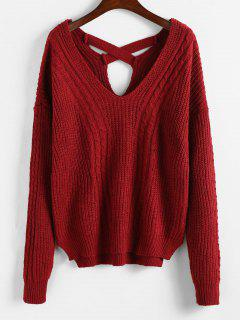 Criss Cross Plain Cable Knit Sweater - Red Wine