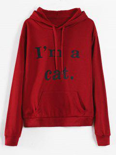 Front Pocket Graphic Cat Hoodie - Red Wine S