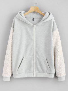 Pockets Fluffy Zip Up Hoodie - Light Gray L