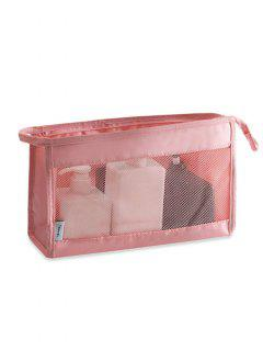 Cosmetic Zipper Mesh Toiletry Bag - Pink