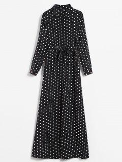 Printed Polka Dot Maxi Shirt Dress - Black Xs