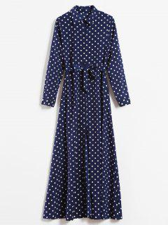 Gedrucktes Polka Dot Maxi Shirt Kleid - Dunkel Blau Xs