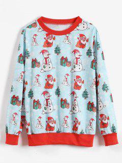 Christmas Snowman Santa Claus Sweatshirt - Coral Blue M