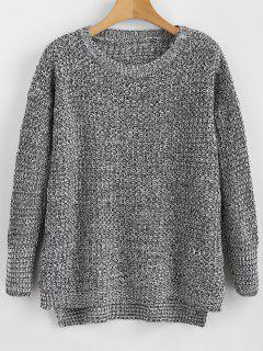 Slit Heathered High Low Pullover - Multi