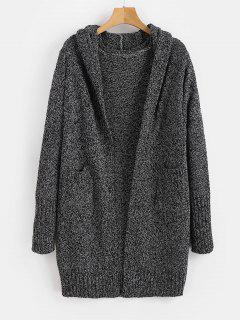 Hooded Heathered Open Front Cardigan - Black