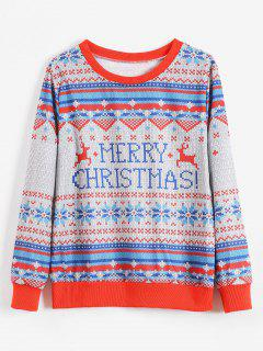 Merry Christmas Snowflake Sweatshirt - Multi-a L