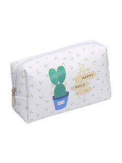 Cosmetic Portable Zipper Travel Cosmetic Bag - White