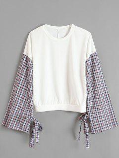 Camiseta De Empalme A Cuadros Con Mangas Con Cinturón - Blanco L