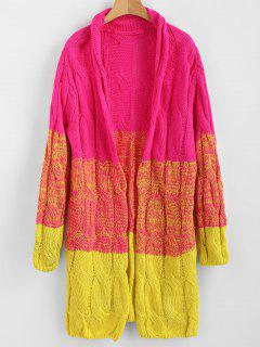 Color Block Open Front Cable Knit Cardigan - Multi
