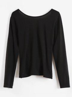 Camiseta Envuelta Drapeada De Manga Larga - Negro L