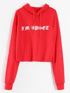 Drawstring Raw Hem Graphic Hoodie - Lava Red L