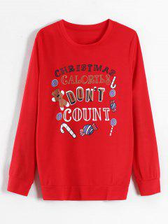 Bear Candy Graphic Christmas Sweatshirt - Lava Red Xl