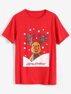 Merry Christmas Elk T-shirt - Red M