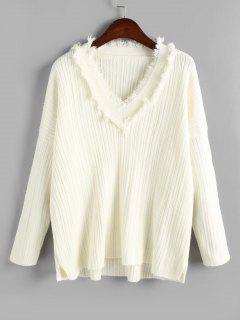 Seitenschlitz Plain Ausgefransten Pullover - Weiß