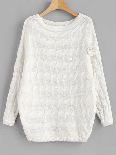 Batwing Floral Applique Cable Knit Sweater - White L