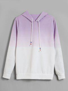Colored Pullover Ombre Hoodie - Mauve S