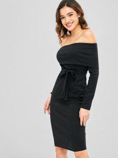 Off Shoulder Foldover Belted Dress - Black M