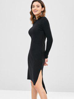 High Low Slit Midi Dress - Black M