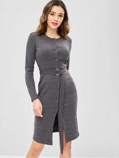 Belted Snap Button Bodycon Dress - Dark Gray Xl